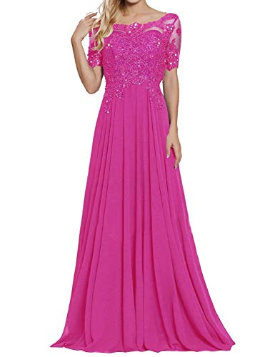 tutu.vivi Appliques Beaded Chiffon Mother of The Bride Dress Short Sleeves Lace Long Formal Evening Gowns Fuschia Size18W