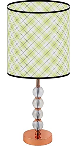 LampPix 23 Inch Custom Printed Table Desk Lamp Shade Lime Green Argyle Pattern. Includes Decorative Acrylic Round (Green Acrylic Shades)