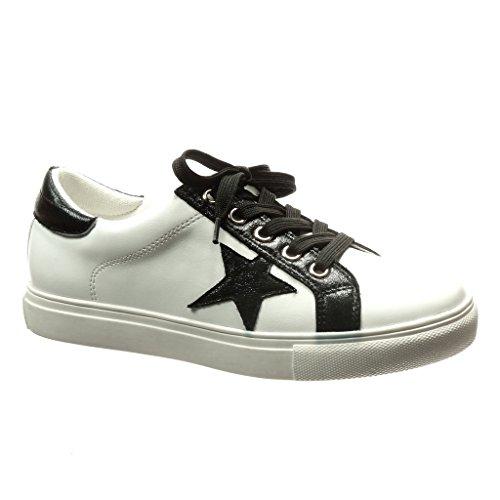 Angkorly - damen Schuhe Sneaker - Stern - glänzende flache Ferse 2.5 CM - Schwarz