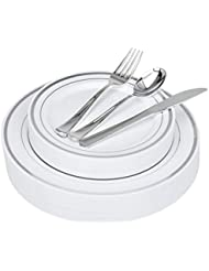125-Piece Elegant Plastic Dinnerware & Cutlery Set Service for 25 Disposable Place Setting Includes: 25 Dinner Plates, 25 Dessert Plates, 25 Forks, 25 Knives, 25 Spoons (Silver Rim) - Stock Your Home