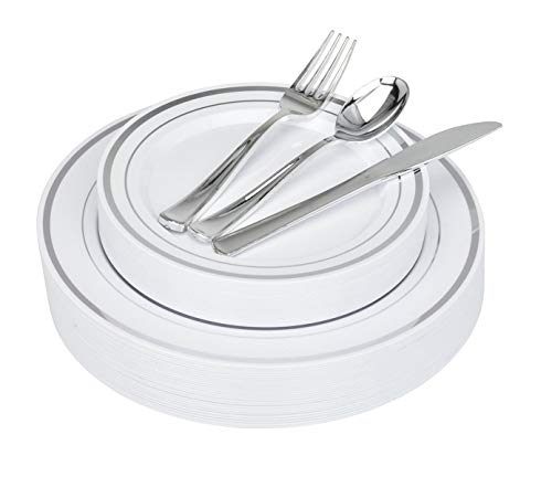 125-Piece Elegant Plastic Plates & Cutlery Set Service for 25 Disposable Place Setting Includes: 25 Dinner Plates, 25 Dessert Plates, 25 Forks, 25 Knives, 25 Spoons (Silver Rim) - Stock Your Home for $<!--$26.99-->