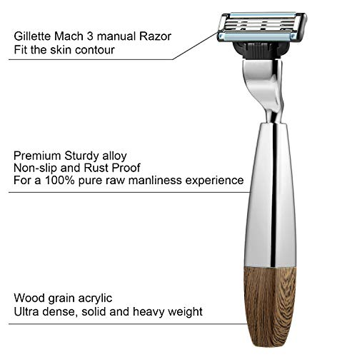 GRUTTI Manual Razor, Premium Heavyweight Razor Handle Compatible with Mach 3 Gift for Gentleman present for Thanksgiving and Christmas