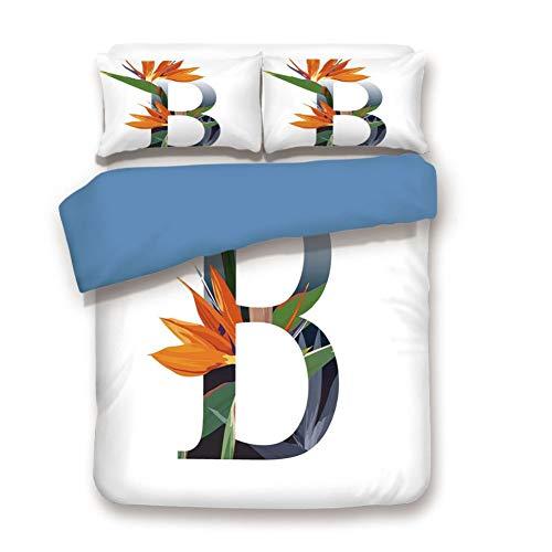 Duvet Cover Set Full Size, Decorative 3 Piece Bedding Set with 2 Pillow Shams,Letter B with Bird of Paradise Flower Alphabet Character Font Design Print Decorative