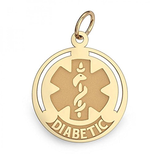 PicturesOnGold.com 14K Gold Round Medical Diabetic Charm - 1 Inch X 1 Inch