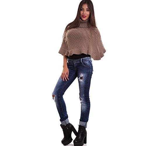Toocool-Poncho corto de mujer de lana, cuello alto - YS0537 barro