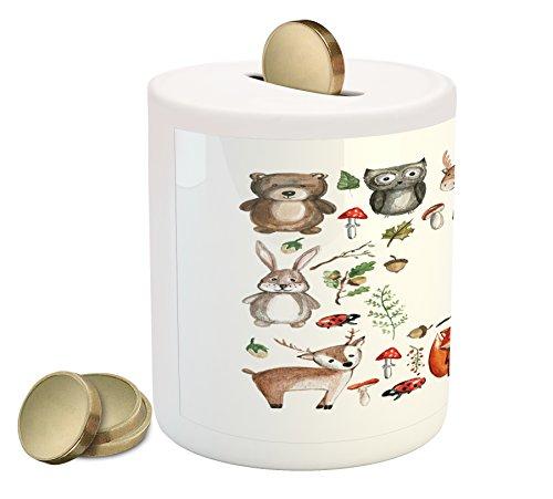 Lunarable Printawe Cartoon Coin Box Bank, Cute Owl Reindeer Beer Hedgehog Ladybug Rabbit Butterfly Walnut Kids Nursery Theme, Printed Ceramic Coin Bank Money Box for Cash Saving, Multicolor