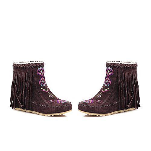 Sanksk Women Faux Suede Round Toe Flat Booties Sweet Boho Fringe Moccasin Ankle Boots Brown10.5 B(M) US Charming