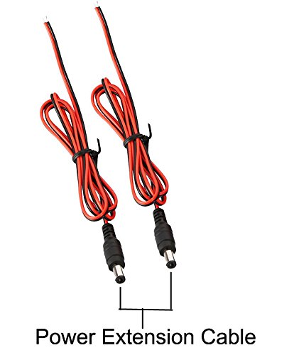 LeeKooLuu 2pcs Vehicle Power Cord Plug 8.2 ft Extension Cable for Backup Camera for Car/Camper/Truck Rear View Monitor Backup Camera Security Parking System.