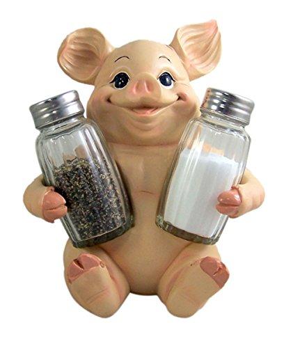 Small Salt Pig - Decorative Pig Salt and Pepper Shaker Set with Holder 6.5 Inch