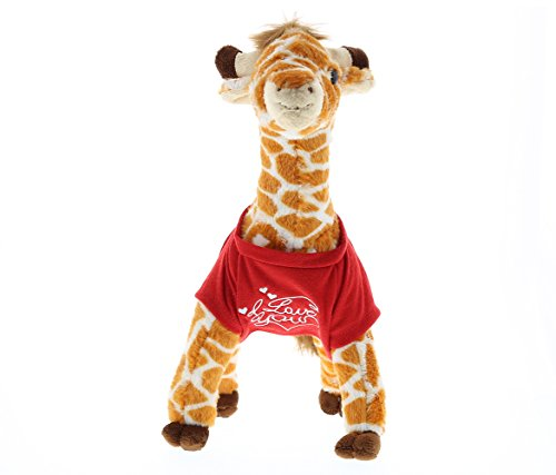 DolliBu Wild Small Giraffe I Love You Valentines Stuffed Animal - Red Message Tshirt - 12.5 inch - Wedding, Anniversary, Date Night, Long Distance, Get Well Gift for Her, Him, Kids - Super Soft Plush