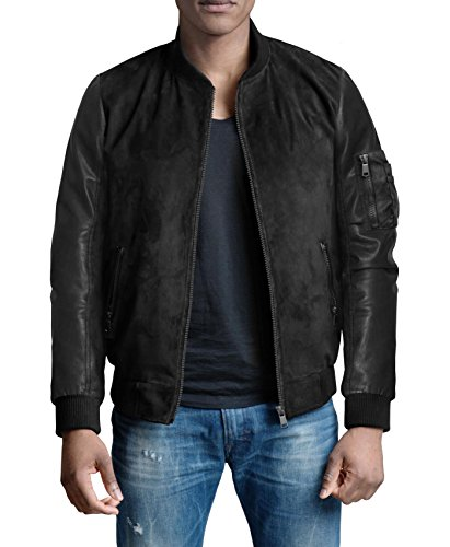 Leather Bomber Style Jacket (FRIED DENIM Men's premium Multi style Bomber Jacket AJK45746 BLACK XL)