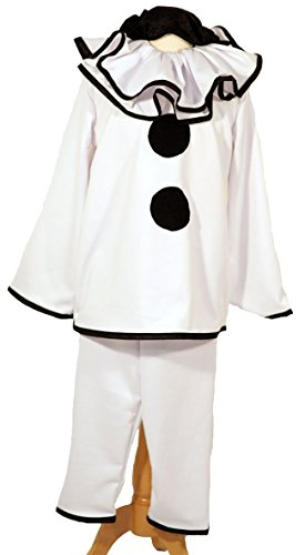 CL COSTUMES Dance-Stage Show-Halloween-Circus-Pierott Deluxe Black & White Clown - All Adult Sizes (Deluxe Circus Clown Costumes)