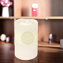 COOSA Rechargeable Air Humidifier Aromatherapy Aqua Fountain Candle Paraffin Wax LED Candle Light Illuminated Candle Fountain (Snowflake) (White)