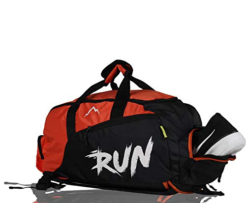 YOI Run Polyester Orange with Separate Shoes Compartment and adjustable strap Backpack Cum Duffel Bags for Men's