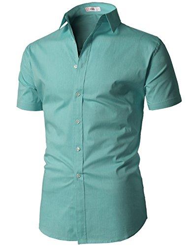 H2H Mens Slim Fit Cotton Flannel Short Sleeve Button Down Shirts Mint US XL/Asia 2XL (KMTSTS0132)