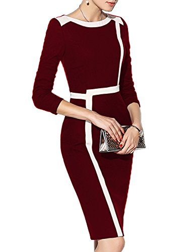 WOOSEA Women's 2/3 Sleeve Colorblock Slim Bodycon Wear to Work Pencil Dress (Burgundy+White, Small)