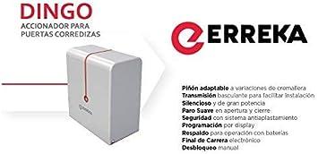 Kit completo profesional motor puerta corredera residencial ERREKA DINGO hasta 400kg de peso + 2 mandos alta seguridad + 4 metros de cremallera de nylon con tornillos.: Amazon.es: Bricolaje y herramientas