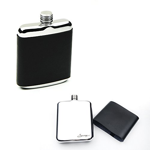 SAVAGE 6oz Hip Flask in Removable Black Leather Case 18/8 Stainless Steel by Savage