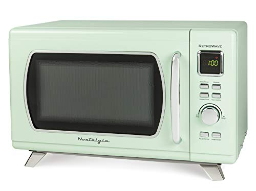 Nostalgia MCMO9FTSG Mid-Century Retro 0.9 Cu. Ft. 900-Watt Countertop Microwave Oven With LED Display, 5 Power Levels, 8…