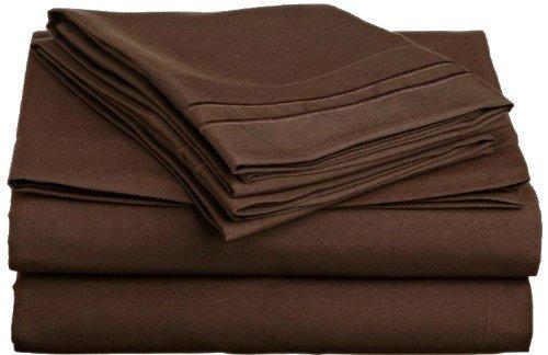 Amazon.com: De Anili Mili Triple puntada bordado asequible 4 PC hoja de cama Set - Queen Size, marrón: Home & Kitchen