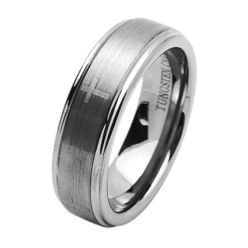 Double Accent 7MM Comfort Fit Tungsten Carbide Wedding Band Laser Engraved Cross Flat Brushed Tungsten Ring (5 to 15), 12.5