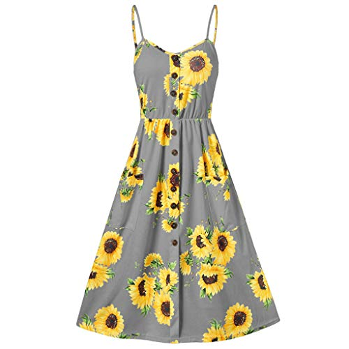 (Womens Dresses Summer Casual Floral Spaghetti Strap Button Up Midi Dress with Pockets Sunflower Printed Camis Dress)