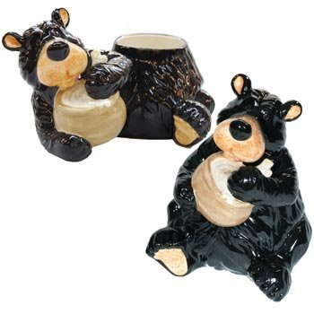 Willie Black Bear Slurping up the Honey (Yum) Glossy Cookie Jar with Lid, 10 by WIlcor International