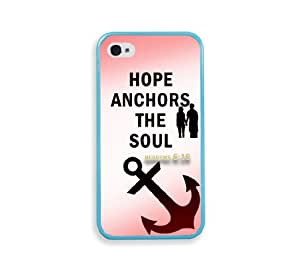 Hebrews 6 10 Hope Anchors The Soul Quotes Aqua Silicon Bumper iPhone 4 Case Fits iPhone 4 & iPhone 4S