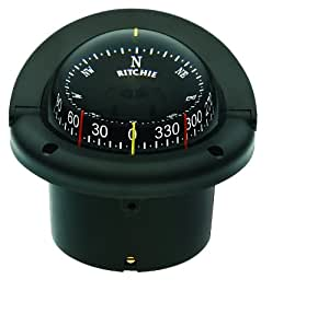 Ritchie HF-743 Navigation Helmsman Compass 3 3/4-Inch Dial with Flush Mount (Black)