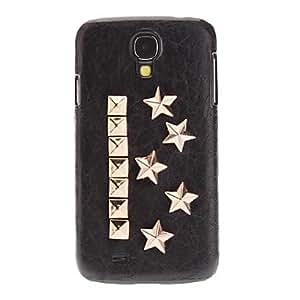 comprar Clinch Perno Estilo Estrellas caso duro del diseño de cuero de la PU para Samsung i9500 Galaxy S4