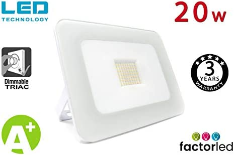 FactorLED Foco Proyector 20W LED Luxury Blanco, Iluminación ...