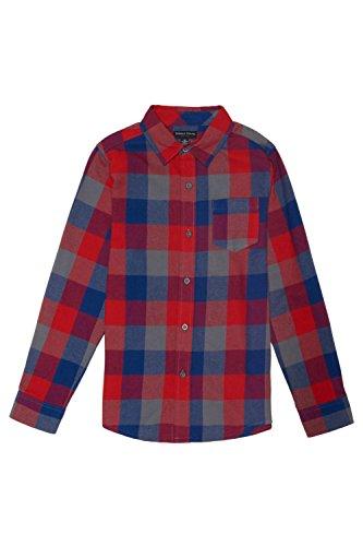 Kids Long Flannel Sleeve (French Toast Little Boys' Long Sleeve Flannel Shirt, Blue Steel, 7)