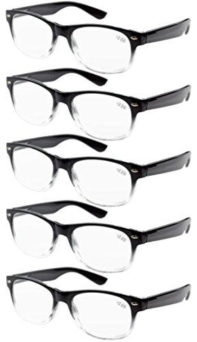 Eyekepper 5-pack Spring Hinges 80's Reading Glasses - With Spring Glasses Hinges