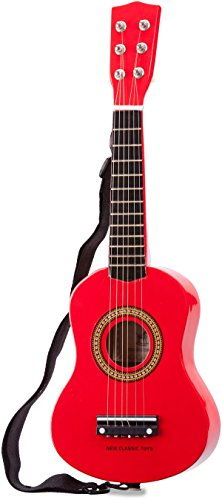 New Classic Toys - 10341 - Musical Toy Instruments - Toy Guitar with Shoulder Strap - Red - 60 Centimeter