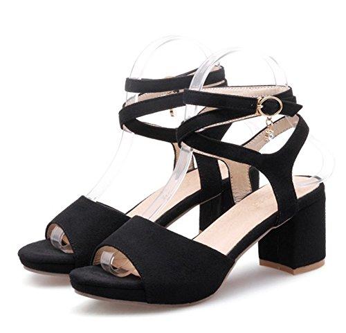 Easemax Womens Trendy Faux Suede Gladiator Peep Toe Cinturini Alla Caviglia Fibbia Metà Sandali Tacco Grosso Nero