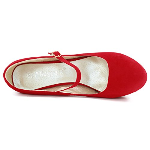 Allegra rouge sangle femme Pumps 8 gros doigt autour Red fibbie plate K forme US HvrSwH