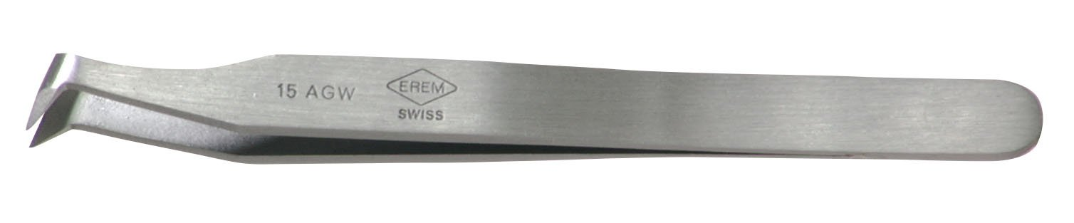 Erem 15AGW Carbon Steel Curved Medium Cutting Tweezer, 4.5'' Overall Length