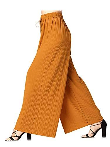 Design by Olivia Women's Elastic Waist Chiffon Loose Pleated Wide Leg Palazzo Overlay Pants/Capri/Skirt,Ipaw023 Mustard,One Size
