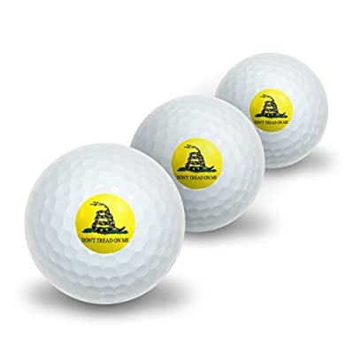 Graphics and More Gadsden Flag Don't Tread On Me Novelty Golf Balls 3 Pack