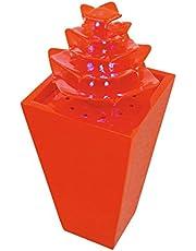 Fuente ABSTRAKT con LEDs y bomba, naranja, 31x31x72cm - Elemento decorativo / Decoración moderna - monsterkatz