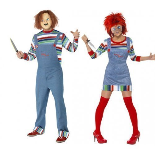 Fancy Me Women's and Chucky Doll Film Couple Halloween Horror Fancy Costume UK 12-14 & Mens Medium Multicoloured ()