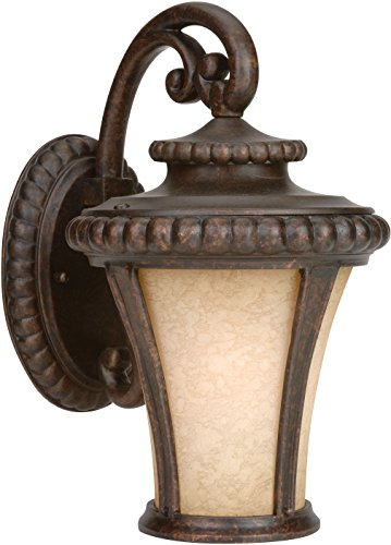 Bronze Lighting Outdoor Peruvian Elegant - Craftmade Z1204-112 Wall Lantern with Antique Scavo Glass Shades, Bronze Finish