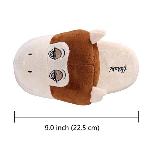 Aerusi Child Animal Plush Slipper Cute Fun Comfy Slip-on Soft Warm Family House Interior Del Dormitorio Slippers Monkey