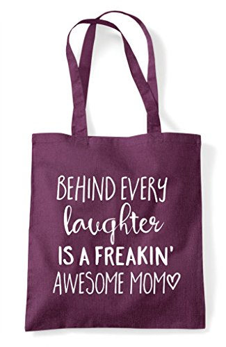 Behind Laughter A Every Is Bag Statement Plum Awesome Tote Mom Family Shopper Freaking arAaqUnxw