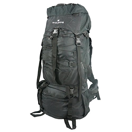K-Cliffs Hiking Backpack Large Scout Camping Backpack Outdoor Travel Bag Emergency Survival Pack w/Rain Cover Blk