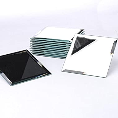 Package of 12 Beveled Edge Square Mirrors Each 5  Square for Embellishing, Crafting and Creating