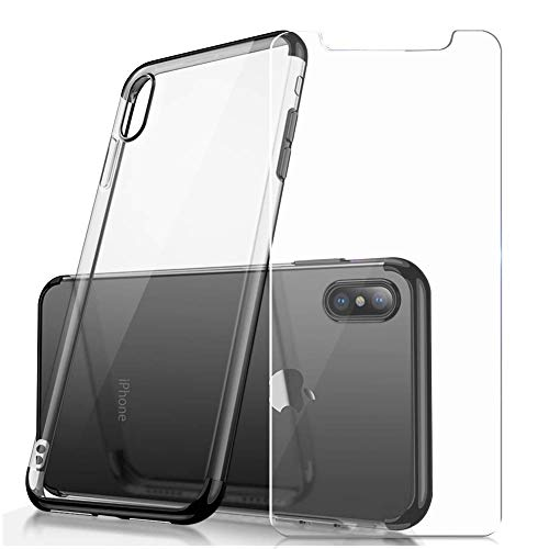 - Crystal ClearTPU Cover iPhone Case (Supports Wireless Charging), Protective Back Case with SoftShock Absorption Bumper and Tempered Glass Screen Protector Set for iPhone X/Xs (Black)