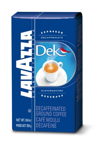 Lavazza Dek Ground Coffee Blend, Decaffeinated Dark Espresso Roast, 8.8-Ounce (Decaffeinated Coffee)
