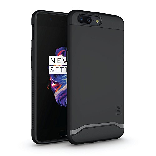 Price comparison product image TUDIA OnePlus 5 Case, Slim-Fit HEAVY DUTY [MERGE] EXTREME Protection / Rugged but Slim Dual Layer Case for OnePlus 5 (Matte Black)