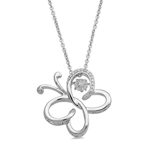 - Jewelili Sterling Silver Round White Diamond 1.3mm Dancing Diamond Butterfly Accent Pendant Necklace, 18